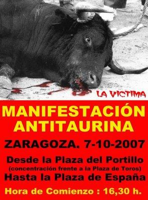MANIFESTACIÓN ANTITAURINA ESTE DOMINGO EN ZARAGOZA