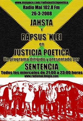 JAHSTA Y RAPSUSKLEI ESTARÁN EN JUSTICIA POÉTICA ESTE MIÉRCOLES 26 DE MARZO