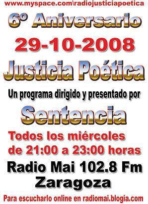 ANIVERSARIO DE JUSTICIA POÉTICA ESTE MIÉRCOLES