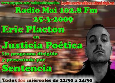 ERIC PLACTON ESTE MIÉRCOLES EN JUSTICIA POÉTICA