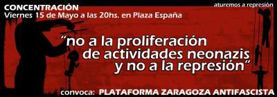 """MANIFESTACIÓN """"NO A LOS NEONAZIS Y NO A LA REPRESIÓN"""" - VIERNES 15 MAYO - PLAZA ESPAÑA - 20 H"""