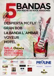 """VIERNES 1 DE JUNIO FESTIVAL """" A CINCO BANDAS """" UNA NOCHE DE ROCK ARAGONES EN SALA OASIS"""