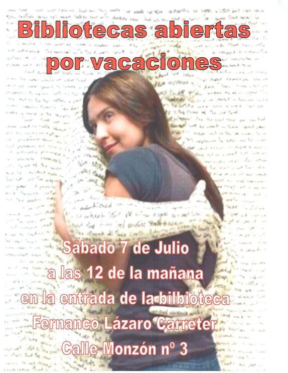 BIBLIOTECAS ABIERTAS POR VACACIONES